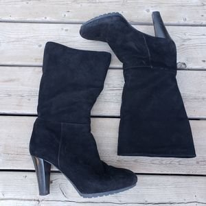 Aquatalia black suede heeled boots